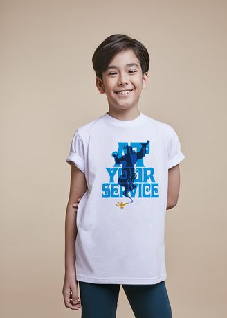 White color Tops . Official Genie Service White T-Shirt -