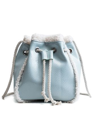 Light Blue color Sling Bags . Crossbody PU Drawstring Bucket Bag for Women  -