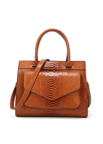 Brown color Hand Bags . Woman Leather Handbag Shoulder Bag With Pouch Totes -