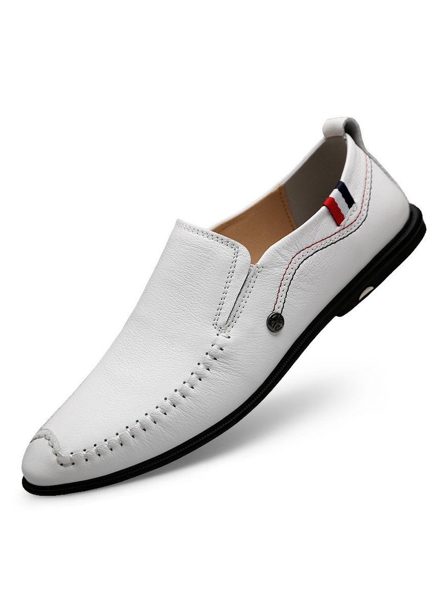 White color Casual Shoes . New Top Layer Cowhide Peas Casual Men's Shoes -