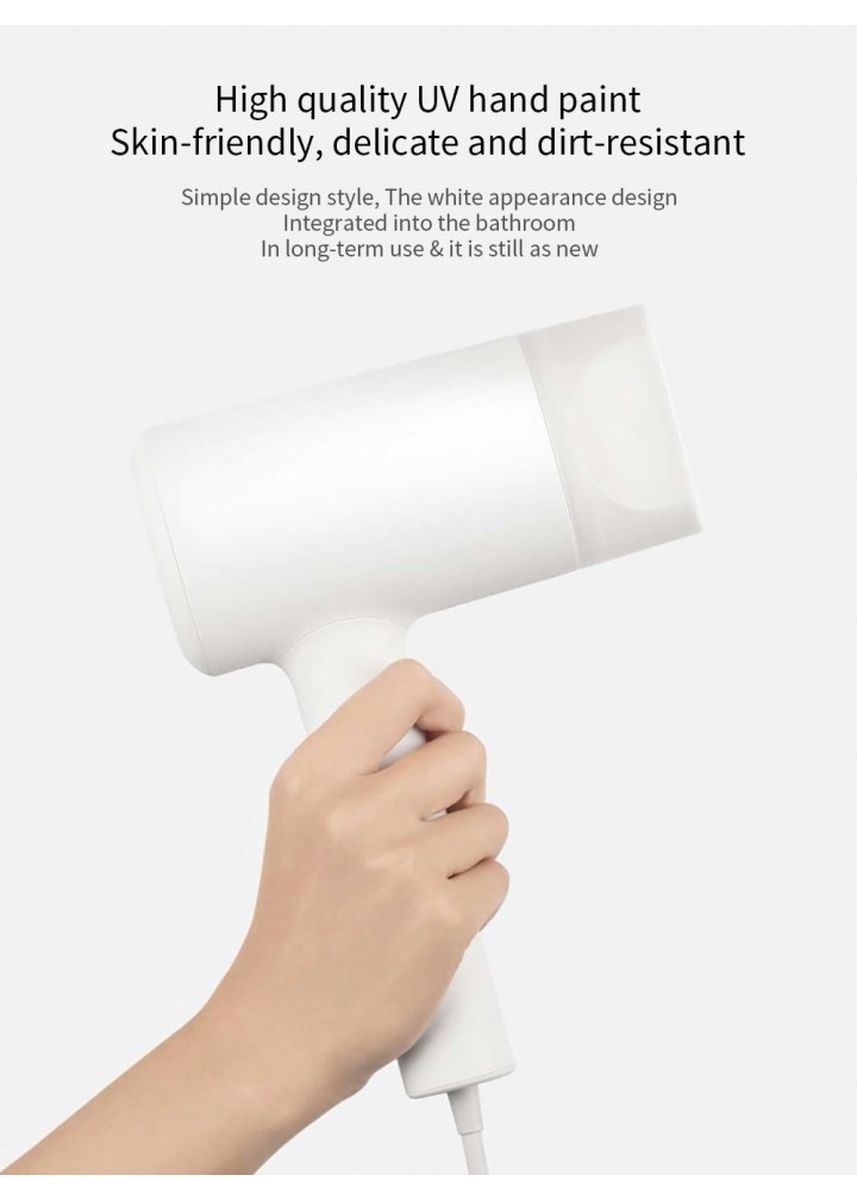 White color Tools . XIAOMI MIJIA Water Ion Temperature Control Hair Dryer 1800W - CMJ01LX -