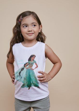 White color Tops . Official Princess Jasmine White Tank Top -
