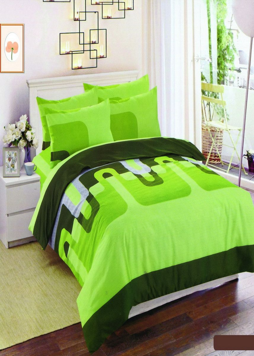 Green color Bedroom . Celina Home Textiles 3 In 1 Double Cotton Bed Sheet Set Premium Quality -