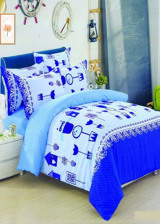 Blue color Bedroom . Celina Home Textiles 3 In 1 Queen Cotton Bed Sheet Set Premium Quality -