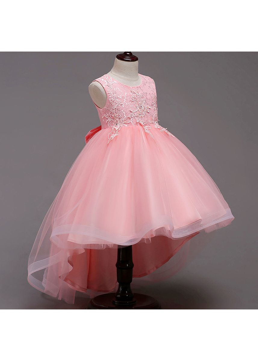 ชมพู color เดรส . Girls Sequins Lace Trailing Princess Dress -