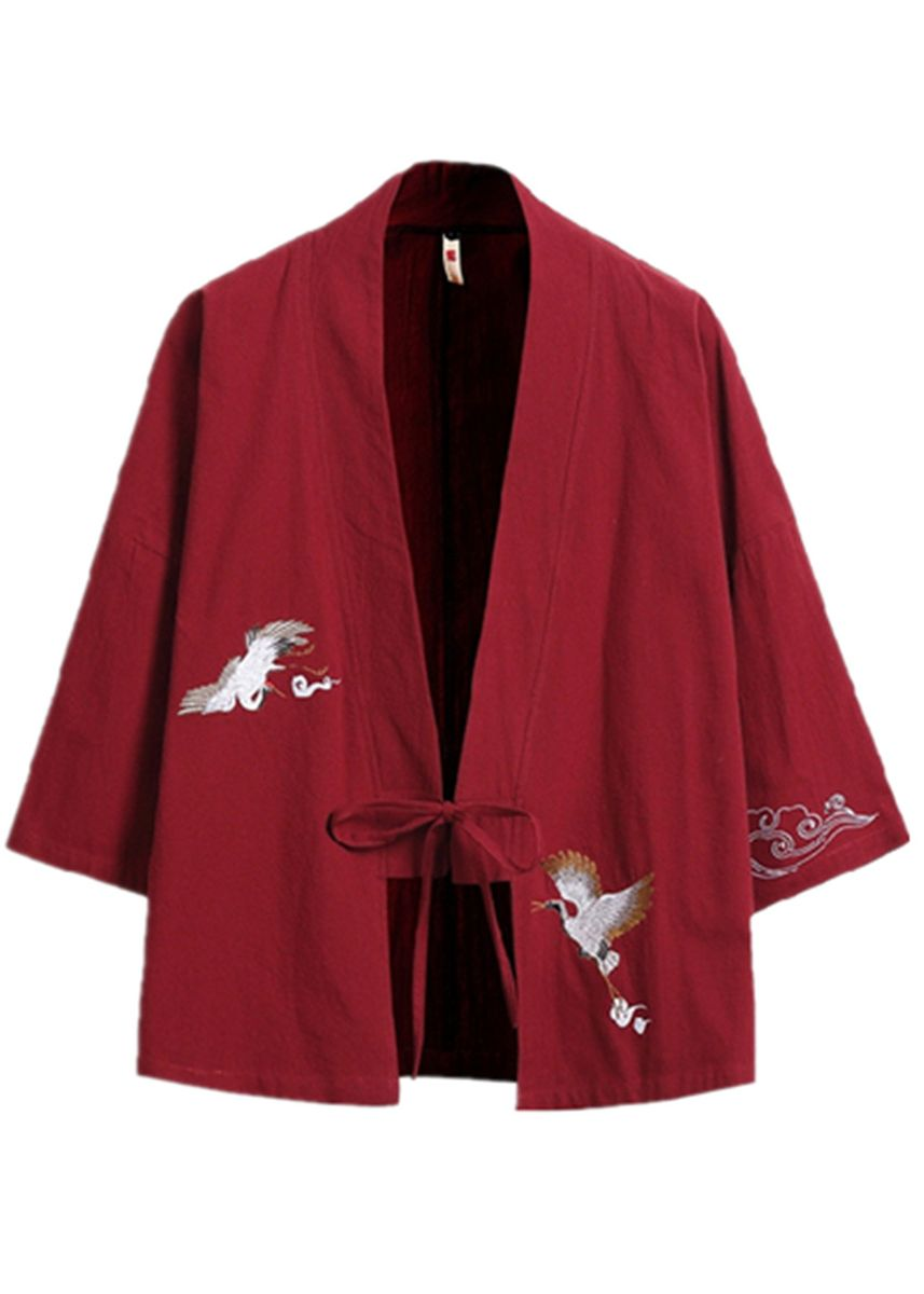 Red color Jackets . Vintage Loose Large Size Embroidery Kimono -