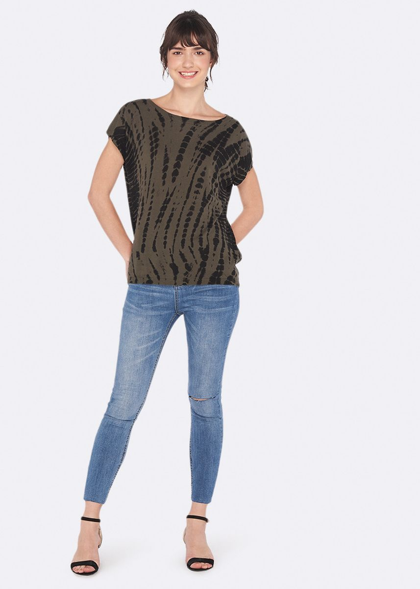 Brown color Tees & Shirts . OVS 100% Cotton Knitted T-Shirt with Animal Print -