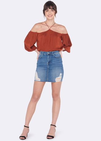 ฟ้า color กระโปรง . OVS Stretch Denim Skirt with Abrasions -