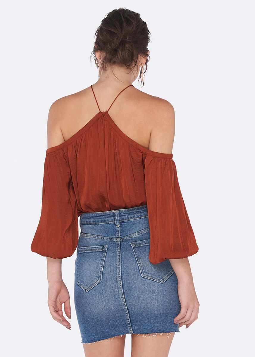 Red color Tops and Tunics . OVS Solid Colour Blouse with Drop Shoulders -