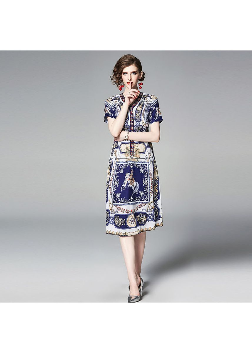 มัลติ color เดรส . V-neck Print Long Sleeved Dress -