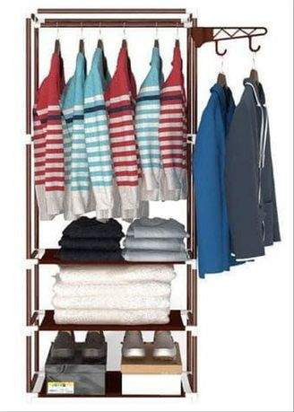 Brown color Storage . Stand Hanger 2in1 Coklat FREE Kapstok Karakter -