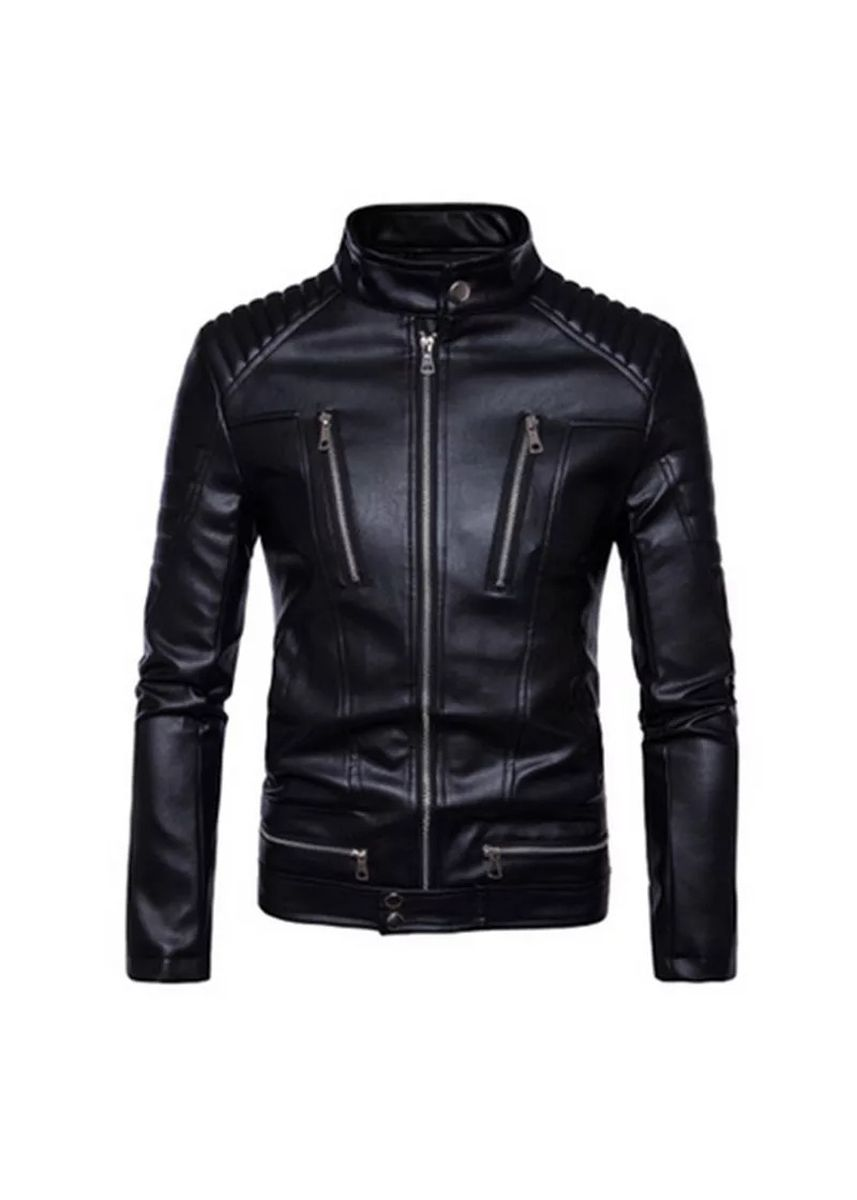 Black color Jackets . Clothing Top Quality Sheep skin Men Leather Fashion Stand Thin Leather Jacket Male Casual Coat Spring Autumn Black -