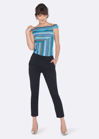 Blue color Tops and Tunics . OVS Striped Knitted Top -