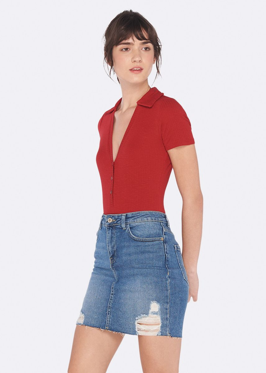 Red color Tops and Tunics . OVS V-Neck Stretch Cotton Bodysuit -