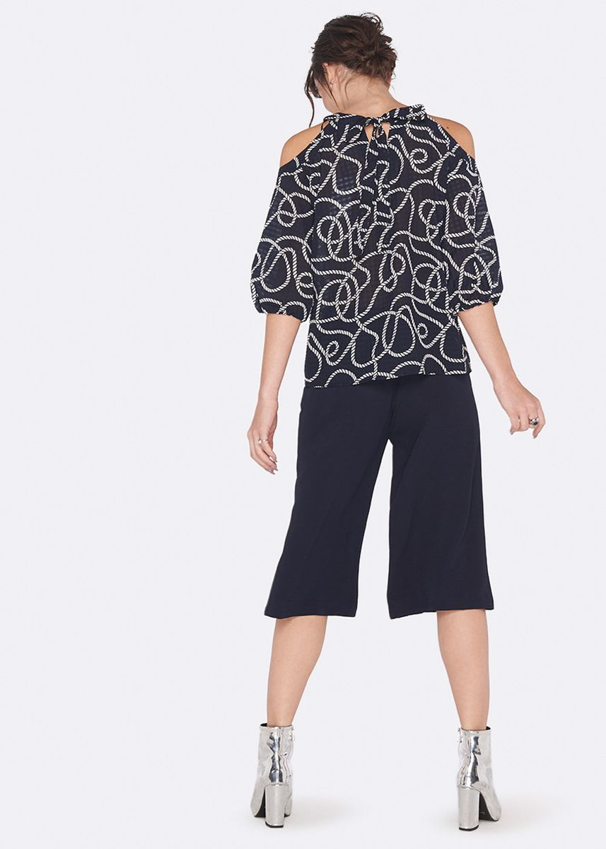 Black color Tops and Tunics . OVS Blouse With Opening On The Shoulders And Pattern -