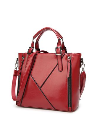 แดง color กระเป๋าถือ . European and American ladies pu leather handbag -