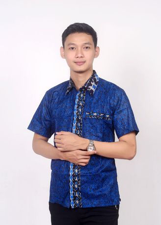 Biru color Kemeja Formal . Kemeja batik mega biru -