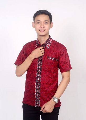 Red color Formal Shirts . Kemeja batik mega merah -