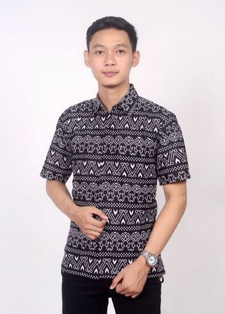 Black color Formal Shirts . Kemeja batik hitam etnik -
