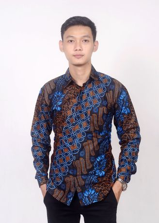 Blue color Formal Shirts . Kemeja panjang batik budaya -