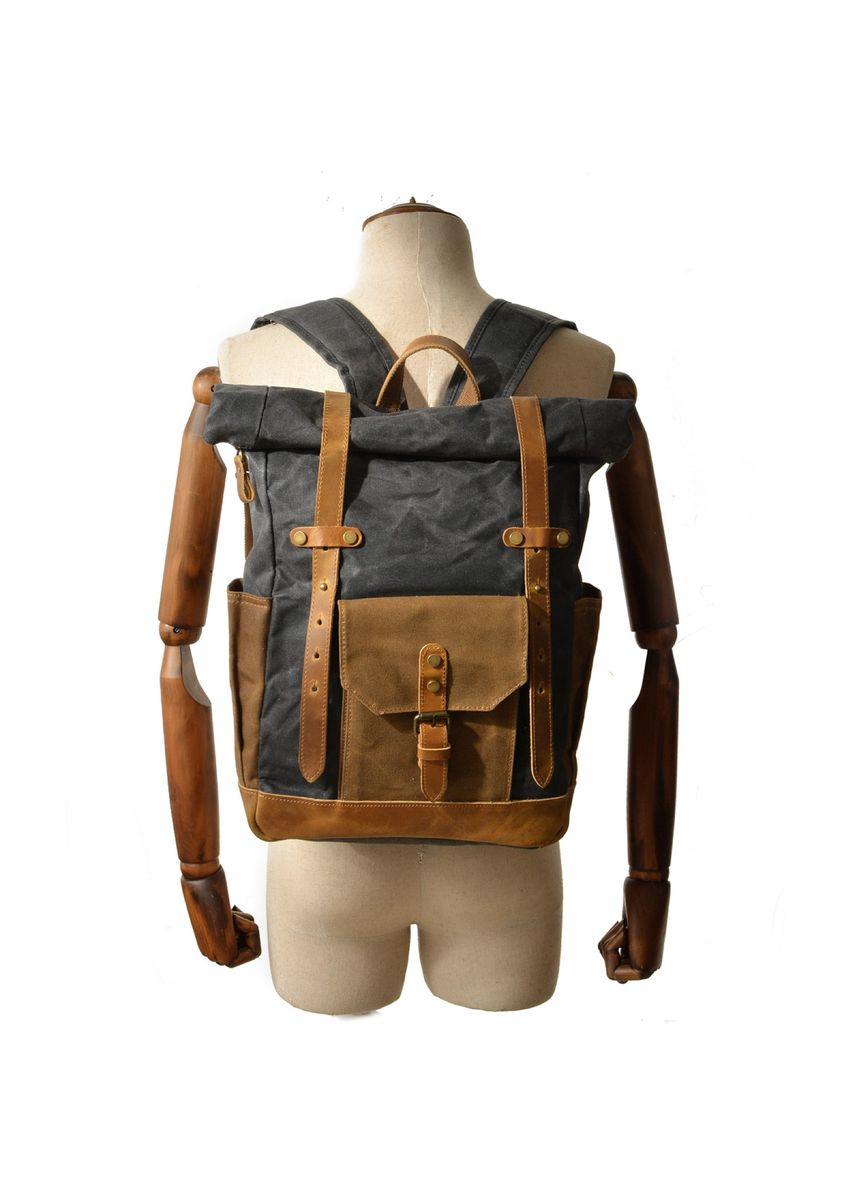 Grey color Backpacks . Mason Classic Leather and Canvas Backpack  -
