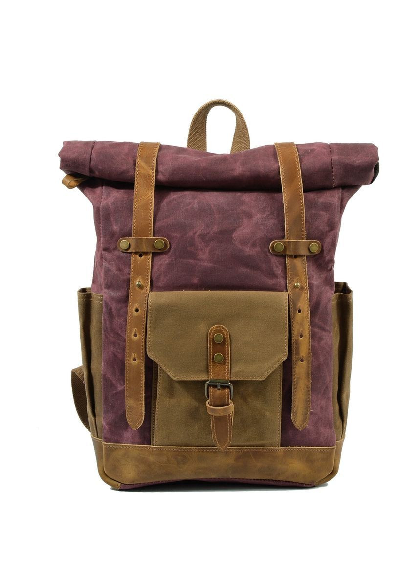 Maroon color Backpacks . Mason Classic Leather and Canvas Backpack  -