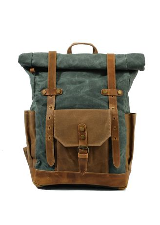 Cyan color Backpacks . Mason Classic Leather and Canvas Backpack  -