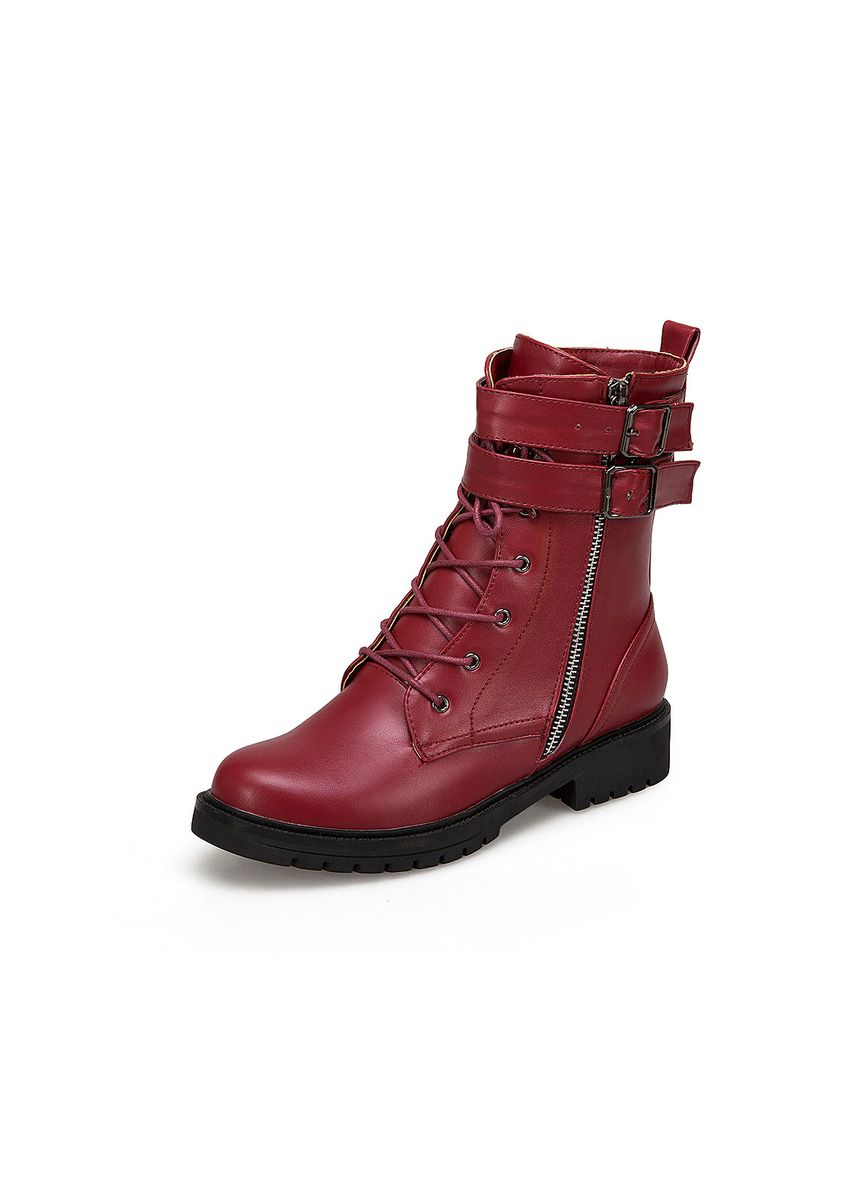 Red color Boots . Belt Buckles  Martin boots -