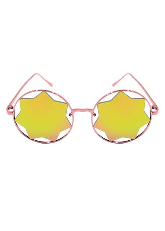 Pink color Sunglasses . Digisoria Vintage Round Seven Pointed Star Sunglasses     -