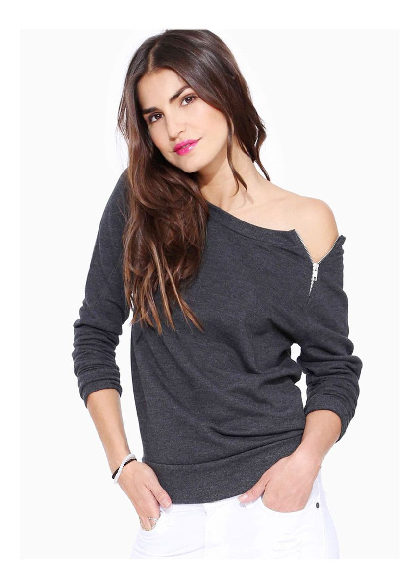 Grey color Tees & Shirts . Long Sleeved Fashion T-shirt -