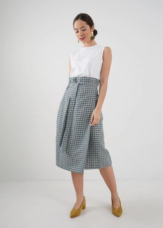 Blue color Skirts . Berrybenka Dhea Checkered Bow Skirt Blue -