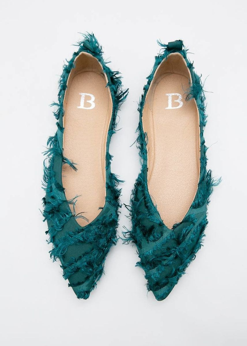 Green color Flats . Berrybenka Muhala Decyta Stylish Flats Green -