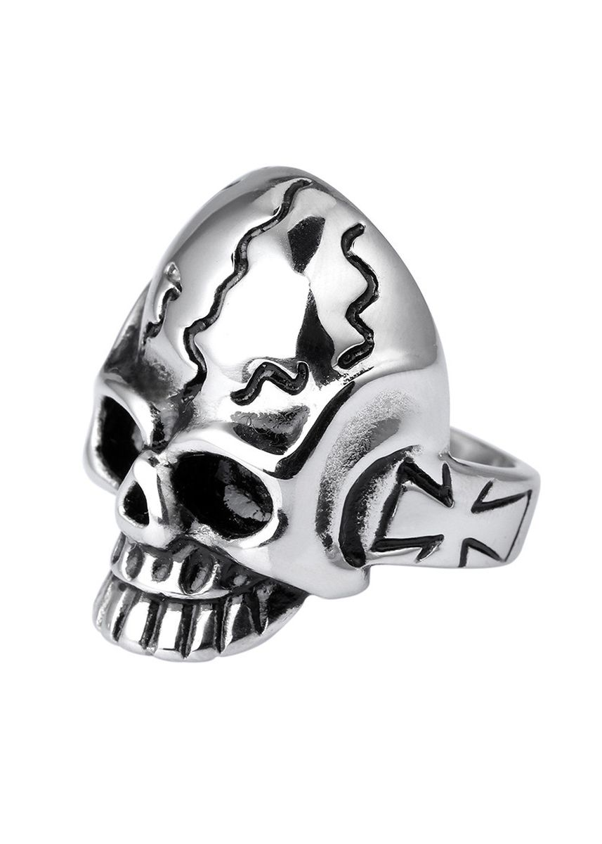 Silver color Rings . Stainless Steel Gothic Style Exaggerated Skull Ring -