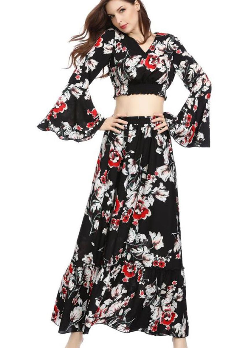 Black color Skirts . Printed Top and Skirt Two-piece Women -
