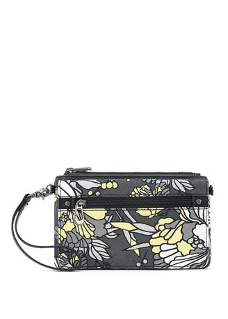 Wallets and Clutches . Sakroots Corin Flap Wallet Slate Flower Blossom -