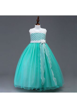 Green color Dresses . Girl's Lace Sleebeless Long Dress -