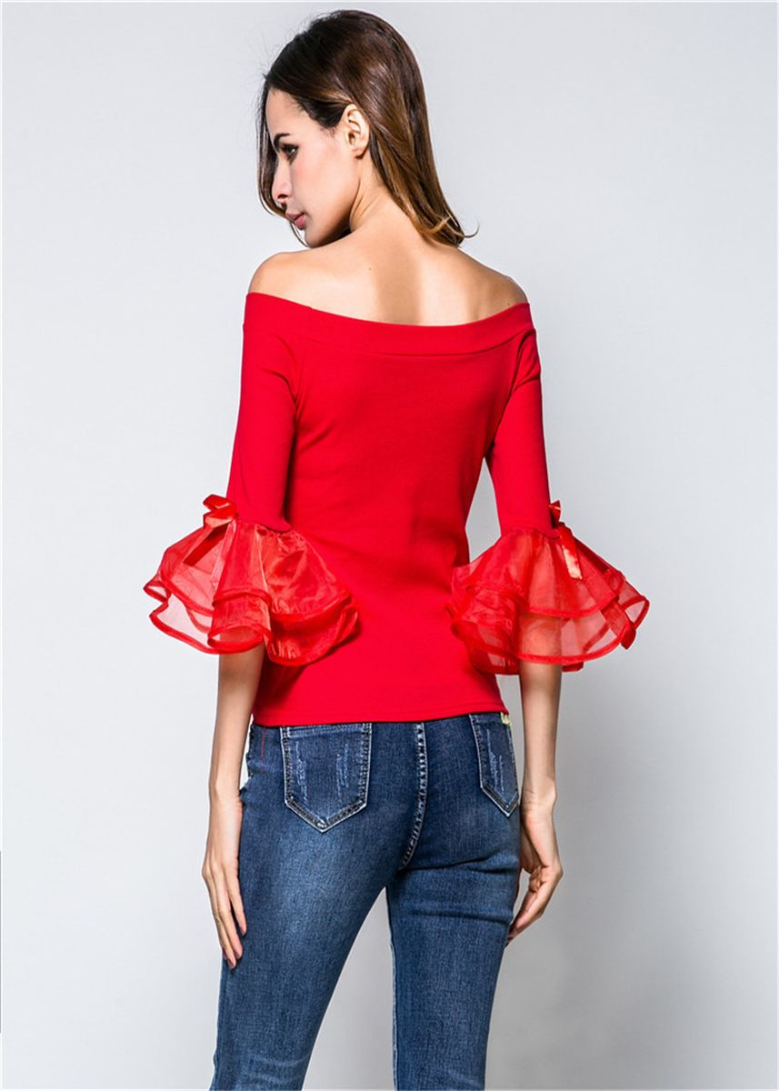 Red color Tops and Tunics . Womens Butterfly-knot Puff Sleeve Off-shoulder Slim Blouse -