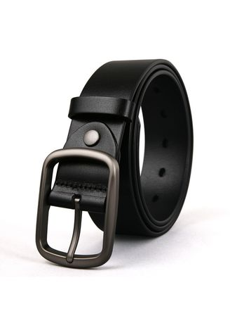 Black color Belts . Pure Leather Brass Buckle Retro Pin Buckle Belt -