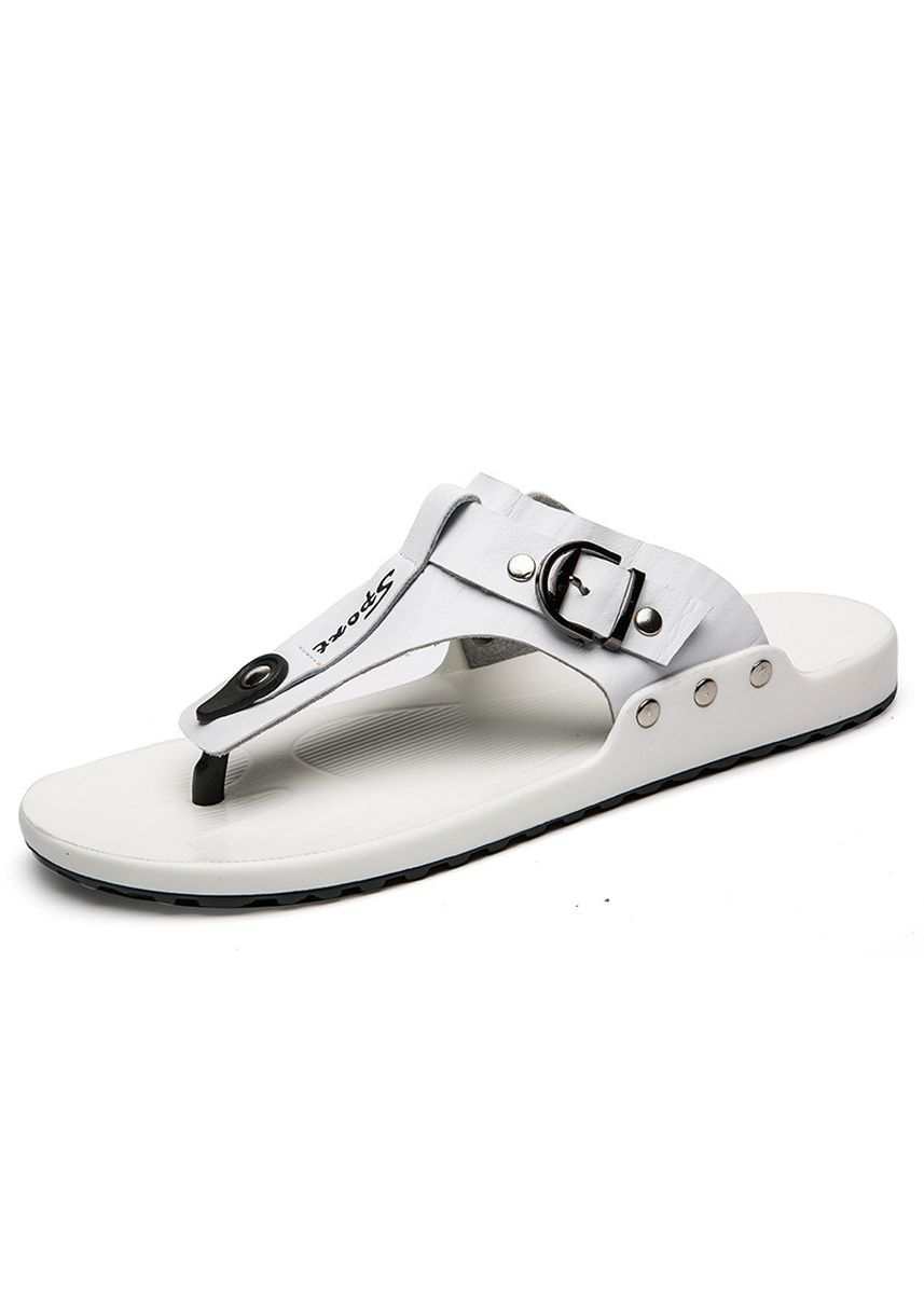 White color Sandals and Slippers . Beach Slippers Men Wear Fashion Leather Casual -