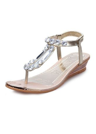 Gold color Sandals and Slippers . Women Fashion Rhinestone Sandals -