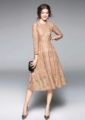 Khaki color Dresses . A Stylish Round Collar Lace Hollow Mid-length Dress -