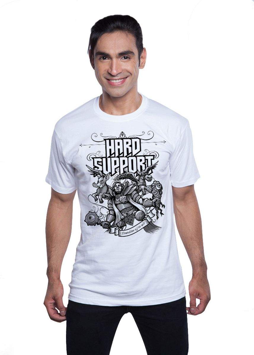 White color T-Shirts and Polos . Guitar Apparel DOTA 2 Hard Support Printed T-Shirt -