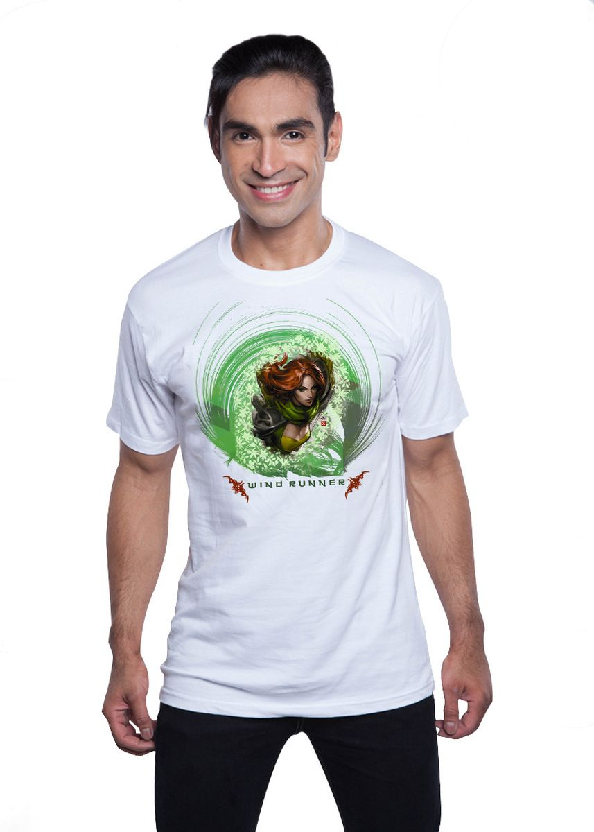 White color T-Shirts and Polos . Guitar Apparel DOTA 2 Windrunner Printed T-Shirt -
