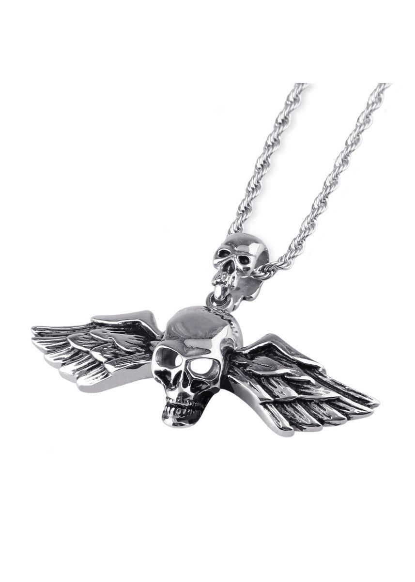 Silver color Necklaces . Ghost Head Wings Personality Men's Pendant -