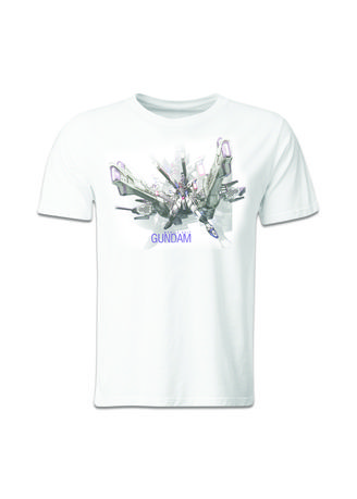 White color T-Shirts and Polos . Guitar Apparel Gundam Freedom + Meteor Printed T-Shirt -