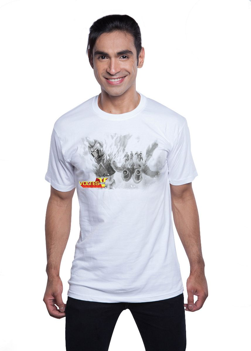 White color T-Shirts and Polos . Guitar Apparel Voltes V + Voltes Team Printed T-Shirt -