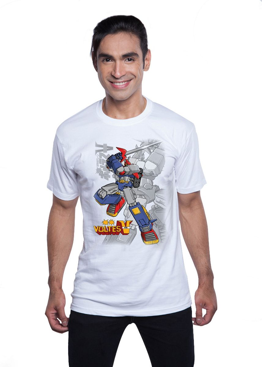 White color T-Shirts and Polos . Guitar Apparel Voltes V Printed T-Shirt -