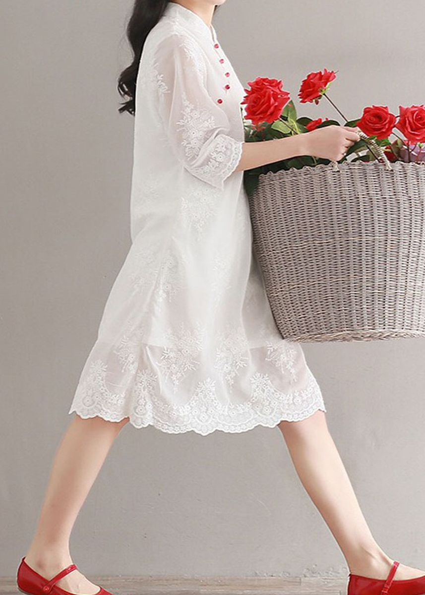 White color Dresses . Embroidery Loose Literature Retro Chinese Improved White Cheongsam Dress -