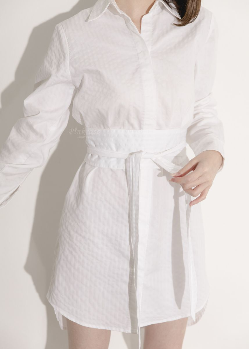 White color Dresses . Pinkrose_Boutique Kohgendo Dress Shirt -