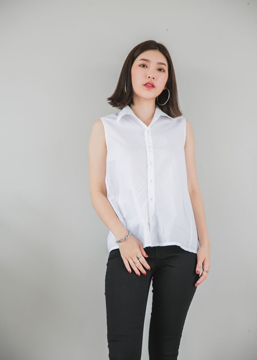 White color Tops and Tunics . Pinkrose_Boutique Nora Shirt -